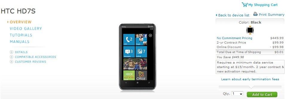 HTC HD7S AT&T