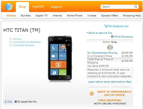 htc titan sold out