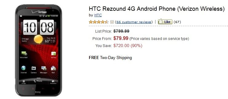 HTC Rezound at Amazon for $79.99