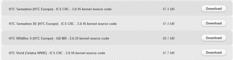 HTC kernel sources