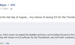 HTC tweet about Thunderbolt update