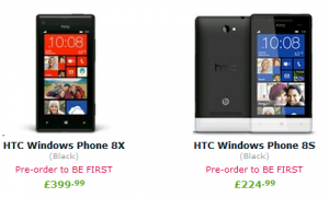 prices for HTC WIndows Phone 8 devices